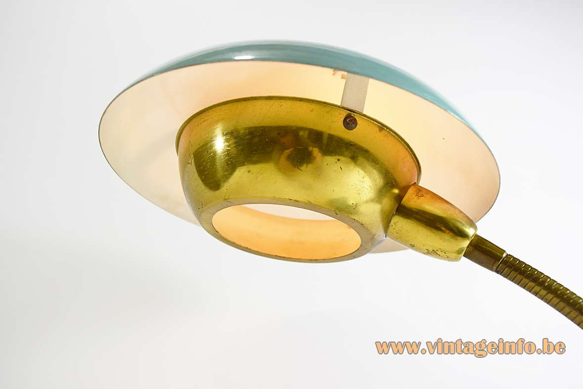 1950s brass gooseneck desk lamp turquoise round base aluminium and round lampshade with diffuser Italy 1960s