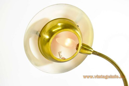 1950s Brass Gooseneck Desk Lamp turquoise round base aluminium lampshade diffuser 1960s MCM Italy