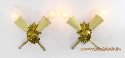 1950s Italian Wall Lamps placed crosswise made of brass cream lampholders 2 light bulbs 1960s MCM