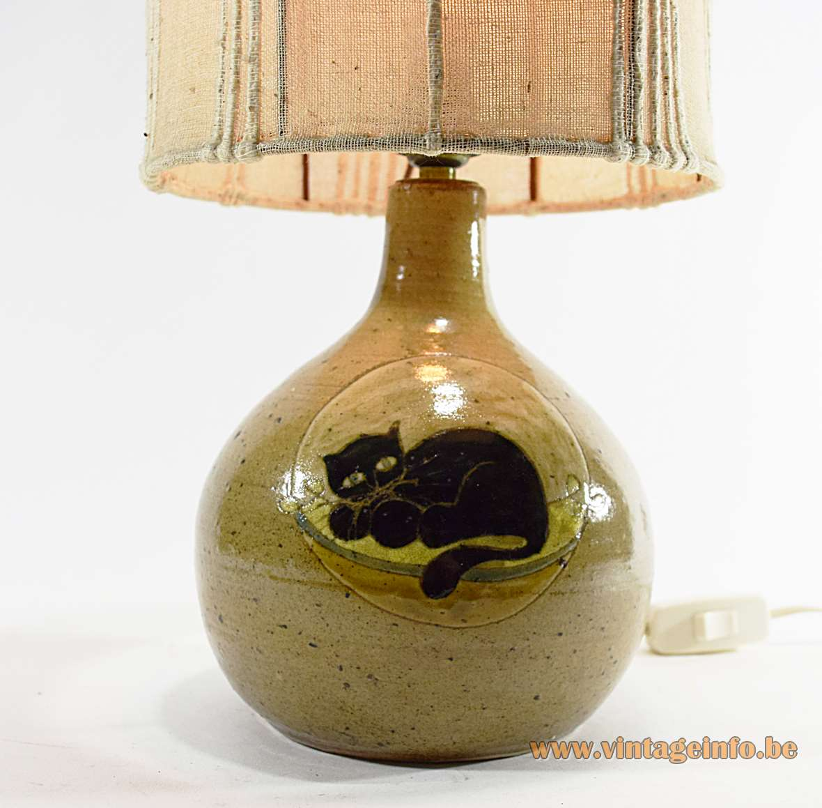 1960s Pussycat Ceramics Table Lamp phoenix logo 1950s fabric lampshade MCM brown black resting cat