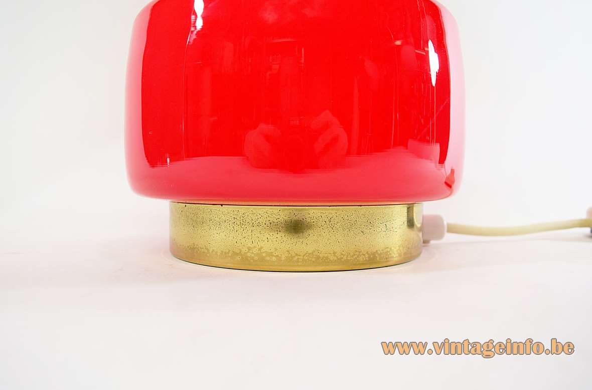 1970s Maroon Glass Table Lamp round brass base 3 light bulbs fabric lampshade MCM 1960s