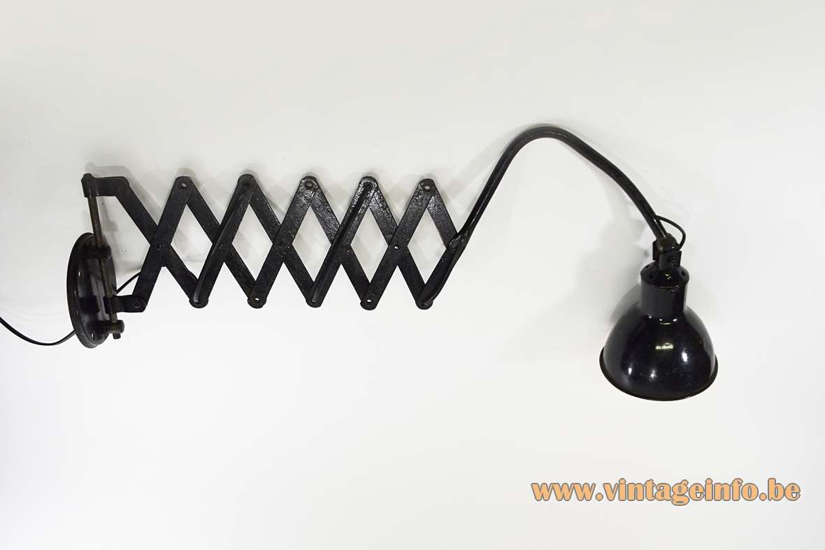 AGI scissor metal wall lamp black iron industrial foldable work light Belgium 1920s 1930s art deco