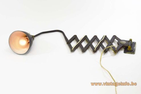 AGI Scissor Industrial Wall Lamp black dark grey iron Bauhaus art deco work light 1920s 1930s Belgium