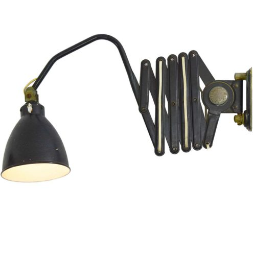 Scissor wall lamp AGI black/dark grey iron industrial Bauhaus art deco work light 1920s 1930s Belgium