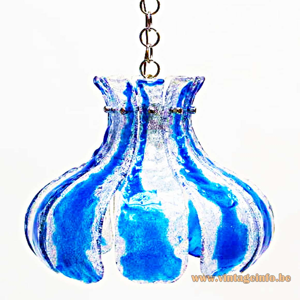 AV Mazzega Blue Crystal Chandelier - Design: Carlo Nason - Made of 10 blue and clear hand blown glass plates resting on a chromed metal frame - Produced in the 60s and 70s