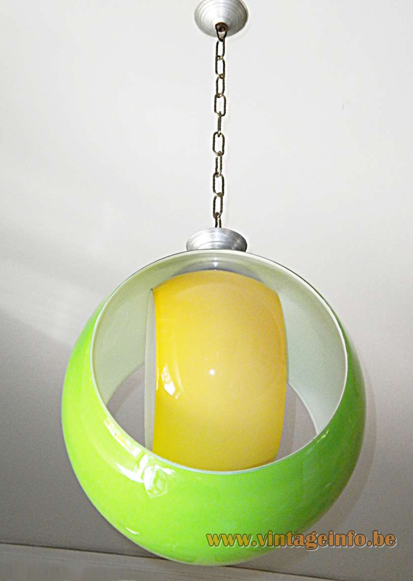 AV Mazzega eclipse pendant lamp 1960s design: Carlo Nason yellow green round circular Murano glass 1970s
