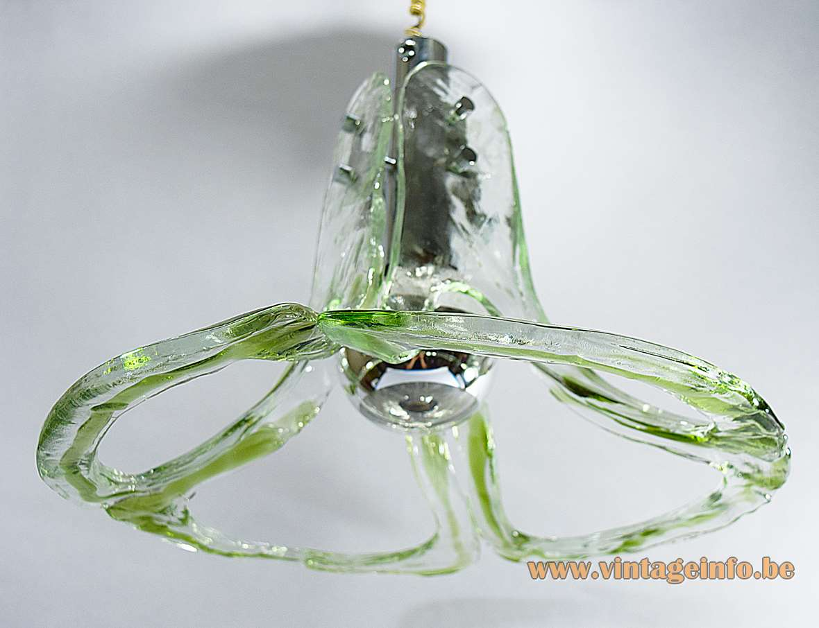 AV Mazzega Open Glass Leaves Pendant Lamp