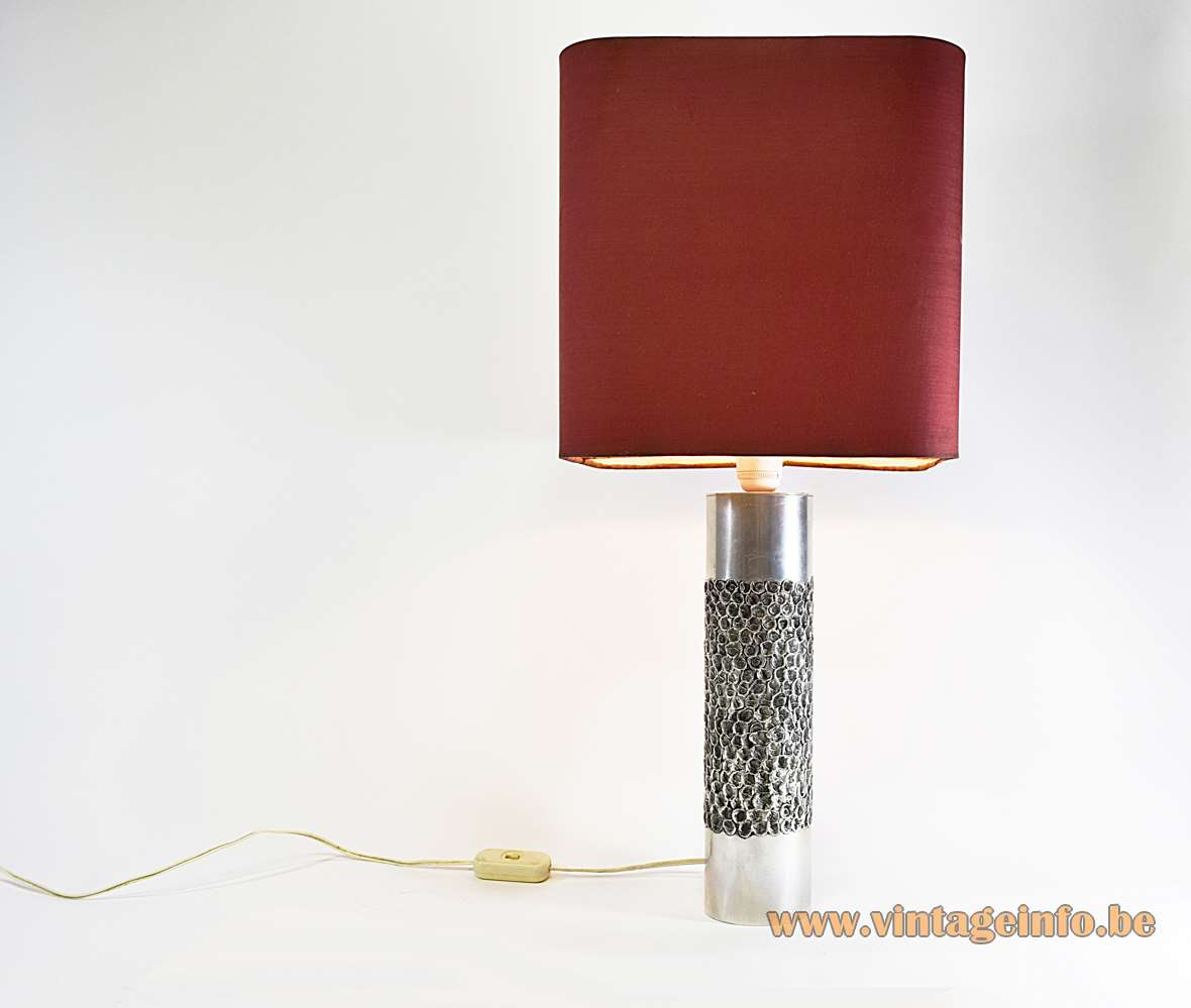 Aluclair Aluminium Brutalist Table Lamp Willy Luyckx Belgium burned metal cylinder 1970s MCM 1960s