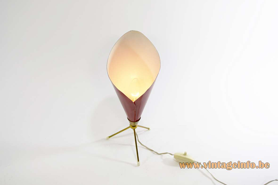 Angelo Lelii Calla Table Lamp conical folded aluminium red painted lampshade brass tripod base 1950s 1960s MCM