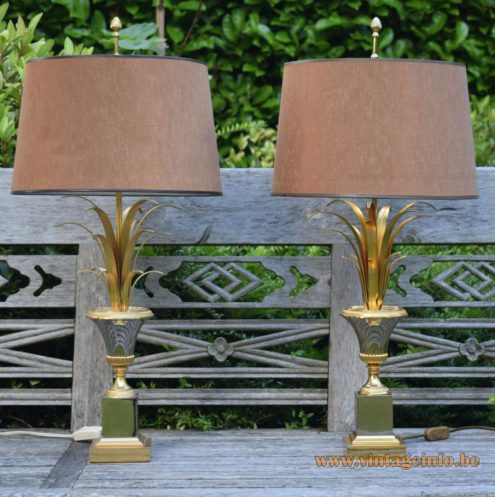 Boulanger Reed Table Lamps, chrome, brass, fabric lampshade, square base, palm, urn 1960s, 1970s, 1980s