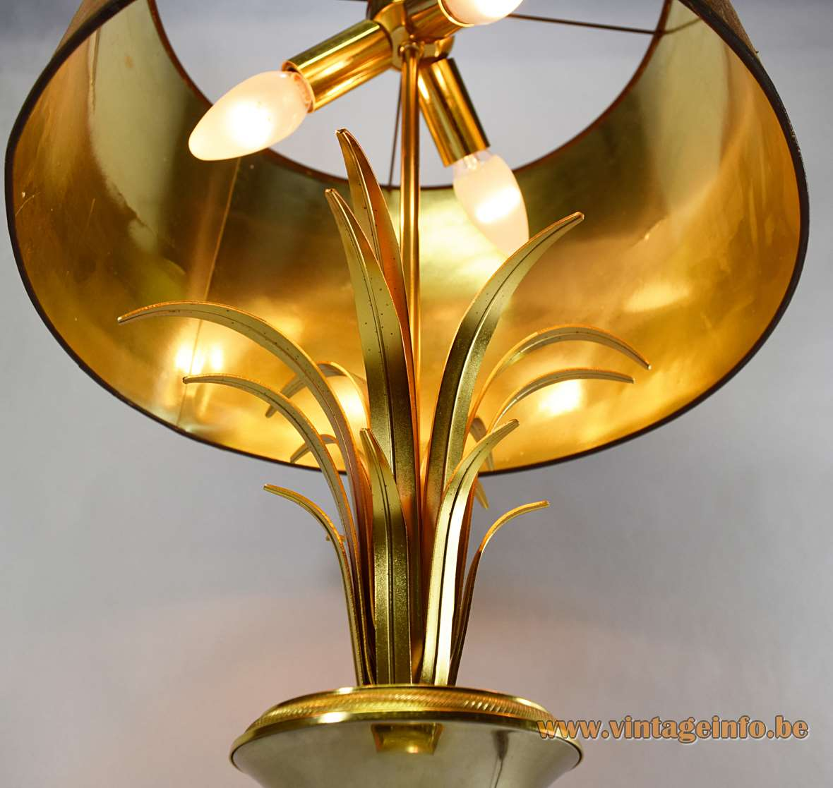 Boulanger Reed Table Lamps, chrome, brass, fabric lampshade, square base, palm, urn 1960s, 1970s