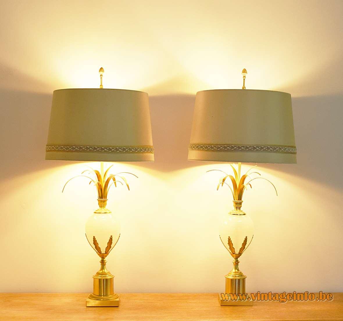 Boulanger ostrich egg table lamps brass base opal glass globe palm leaves reed 1960s 1970s Hollywood Regency