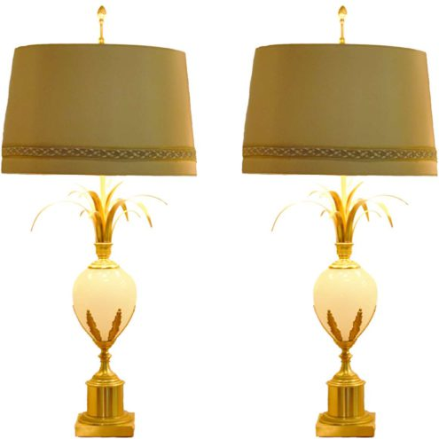 Boulanger ostrich egg table lamp brass palm leaves opal glass fabric lampshade 1960s 1970s vintage