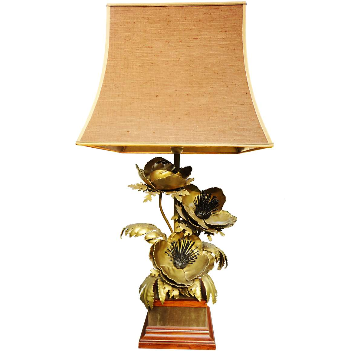 Brass Flowers Table Lamp