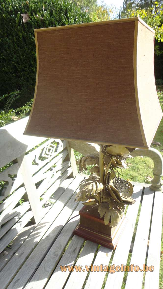 Brass poppies table lamp square wood base burned metal flower petals & needle pistils pagoda lampshade 1970s