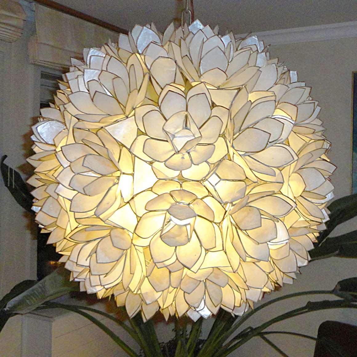 Capiz flower globe chandelier 1950s 1960s windowpane oyster pearl of shell E27 lamp socket Philippines