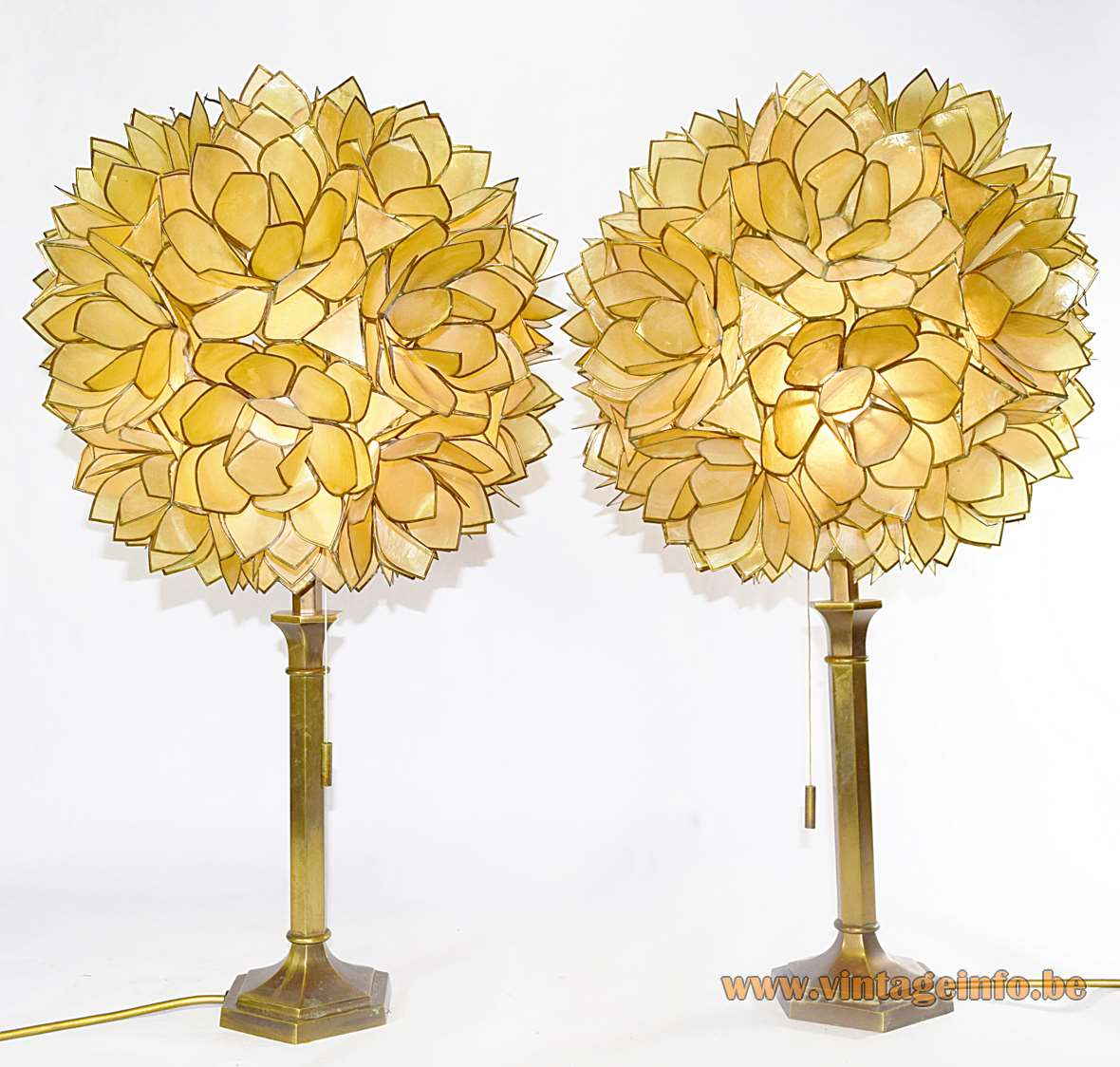 Placuna Placenta Table Lamps Capiz Shells windowpane oyster 1960s 1970s Germany Philippines brass