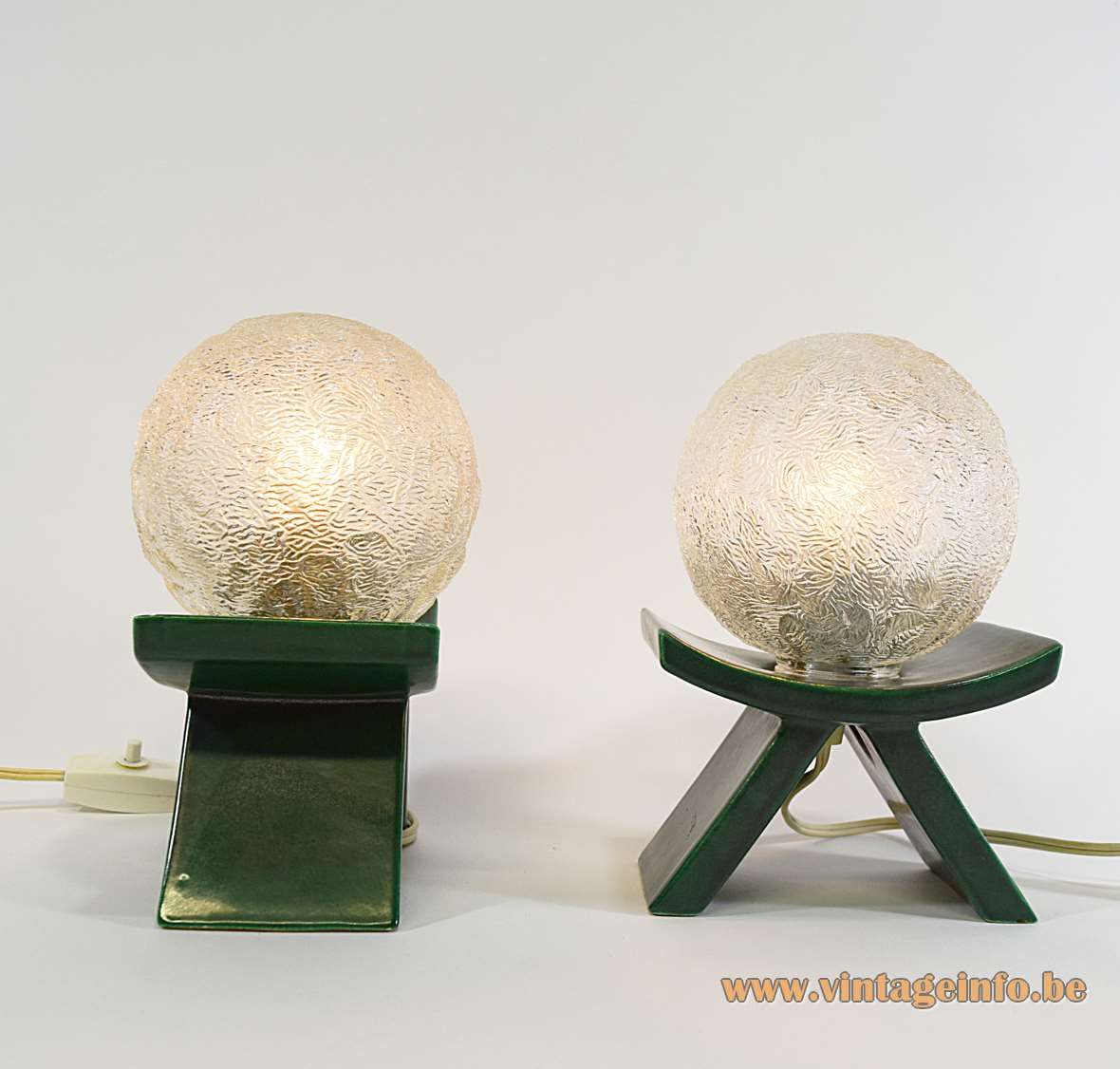 Cari Zalloni Green Bedside Table Lamps Steuler Keramik embossed glass globes 1960s 1970s MCM