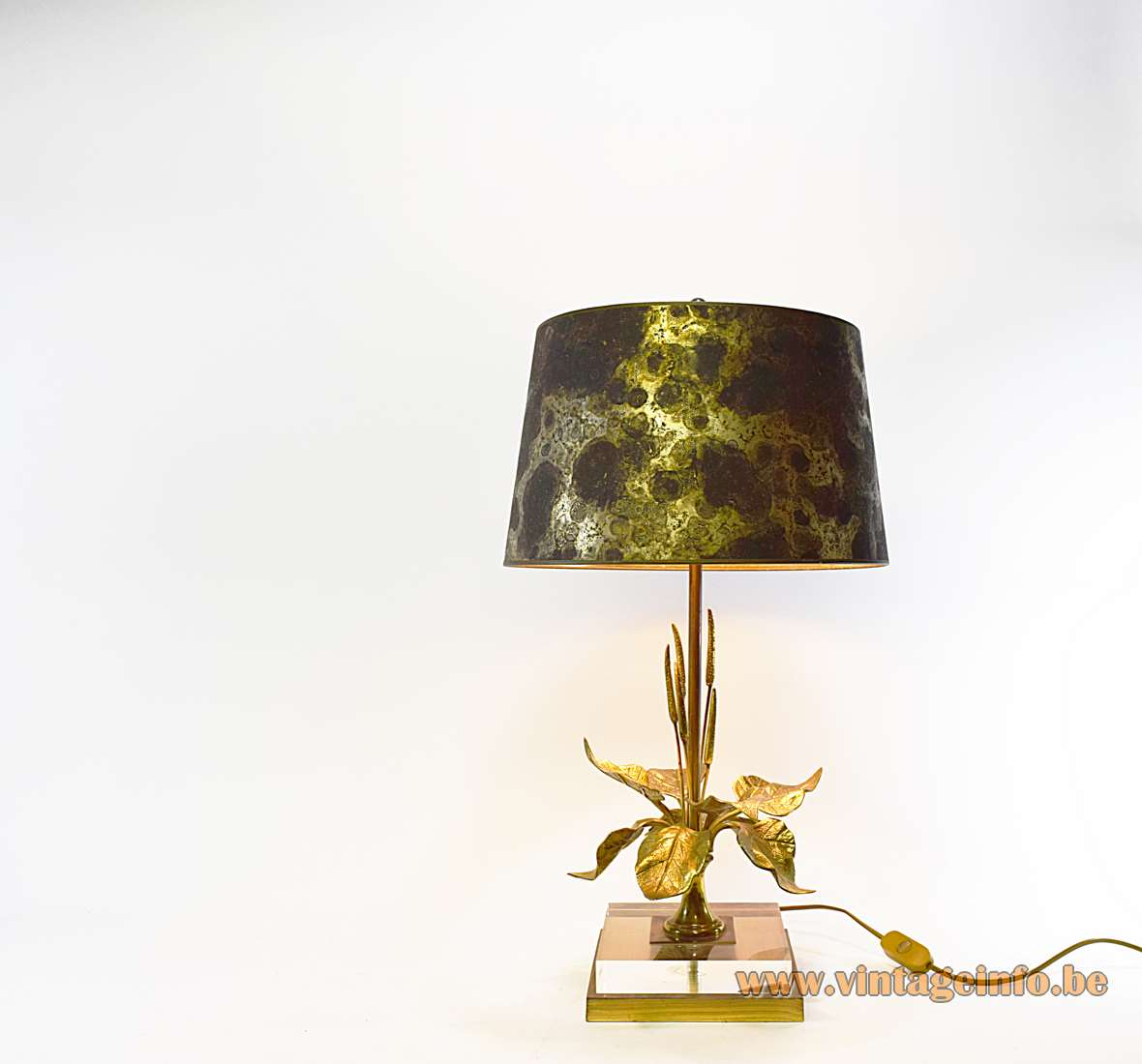 Cattail and lilies table lamp square brass & clear acrylic base bullrush leaves conical lampshade 1970s 1980s