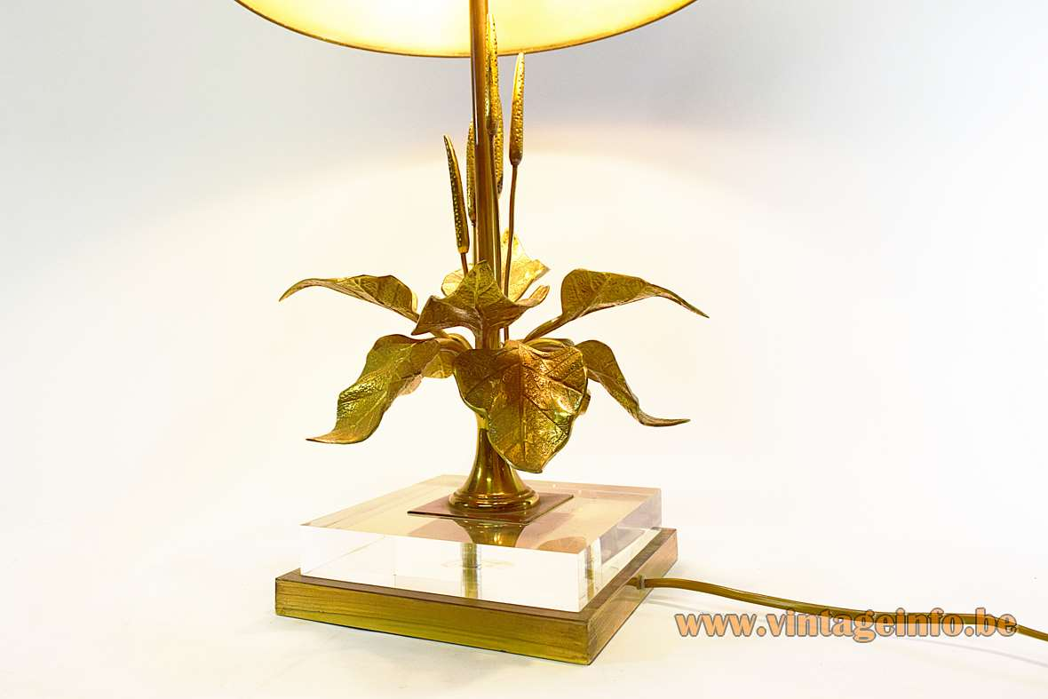 Cattail and lilies table lamp square brass & clear acrylic base bullrush leaves conical lampshade 1970s 1980slies table lamp with bullrush on a square brass clear acrylic base 1970s 1980s