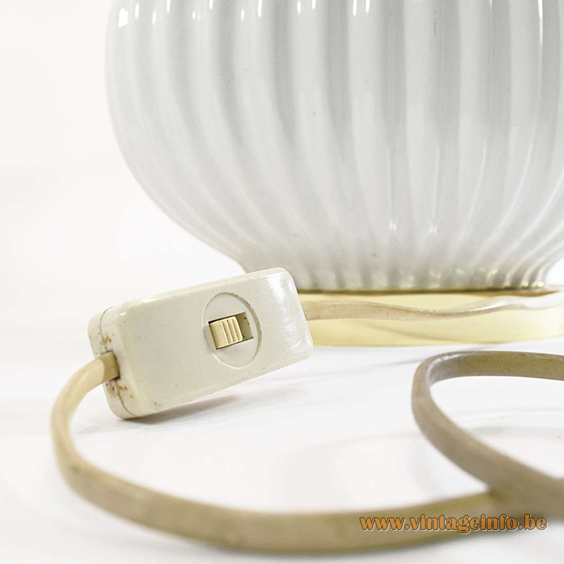 Oval Ceramics & Brass Table Lamps pumpkin design white glazed 1970s 1980s Tomasso Barbi style