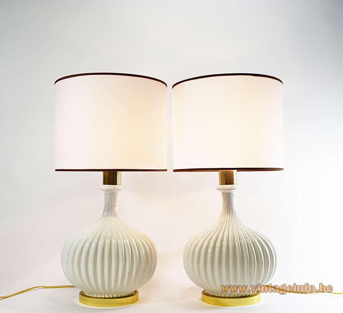 Oval Ceramics & Brass Table Lamps