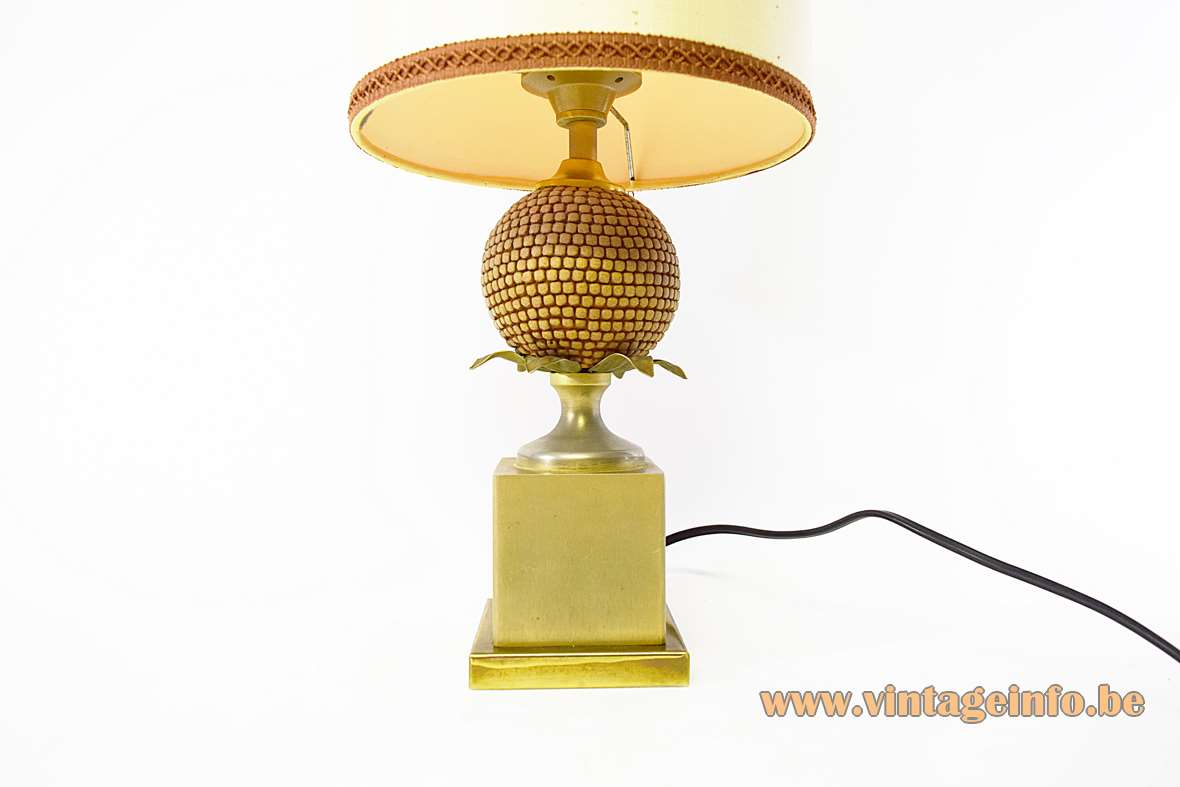 Le Dauphin Corn Table Lamp Mazet Hollywood Regency square brass base corn fabric lampshade 1970s 1980s