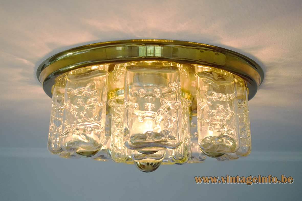 DORIA ice glass flush mount brass ring 15 glass blocks 6 bulbs E27 Mid-Century Modern Germany MCM