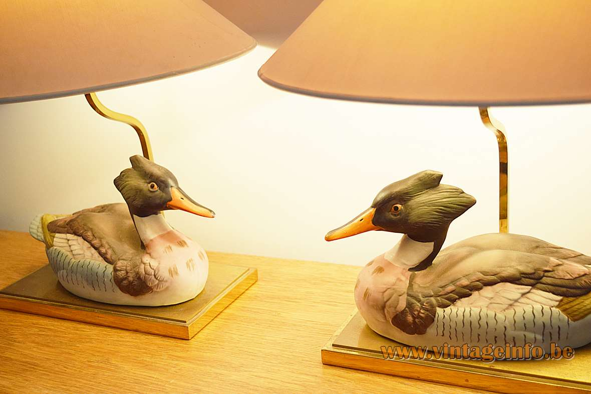 Ceramic Duck Table Lamps rectangular brass base 1970s 1980s J.L.B. Canard bec rouge Hollywood Regency