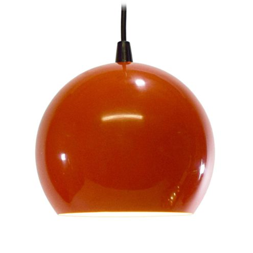 Eyeball pendant lamp small metal orange globe lampshade white inside Massive Belgium 1960s 1980s