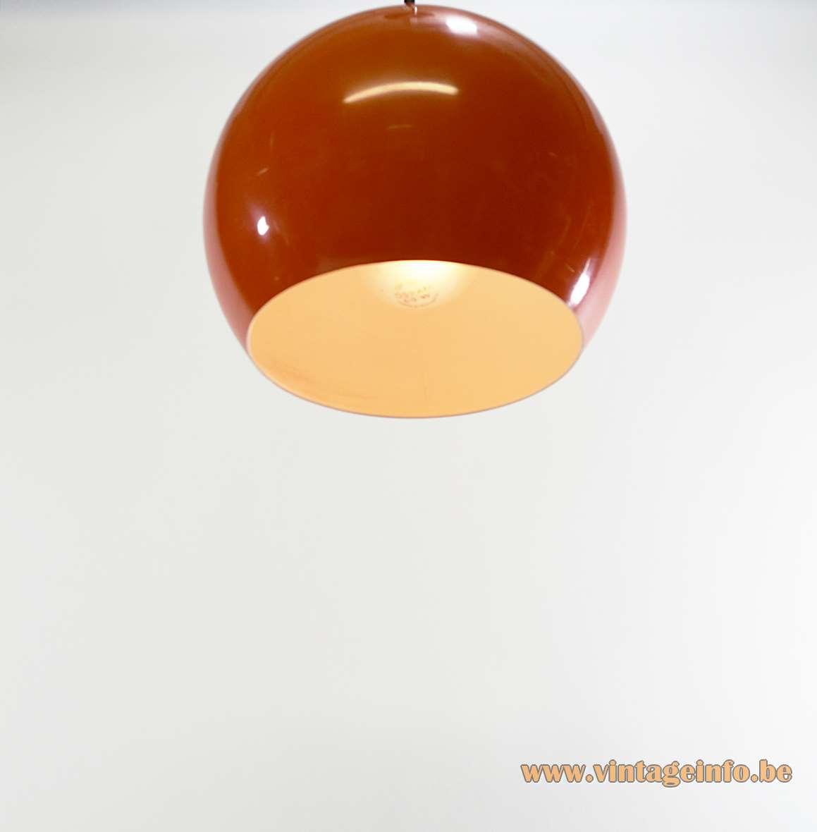 Eyeball Pendant Lamp orange globe light 5 perforations 1960s 1970s 1980s Massive Belgium MCM