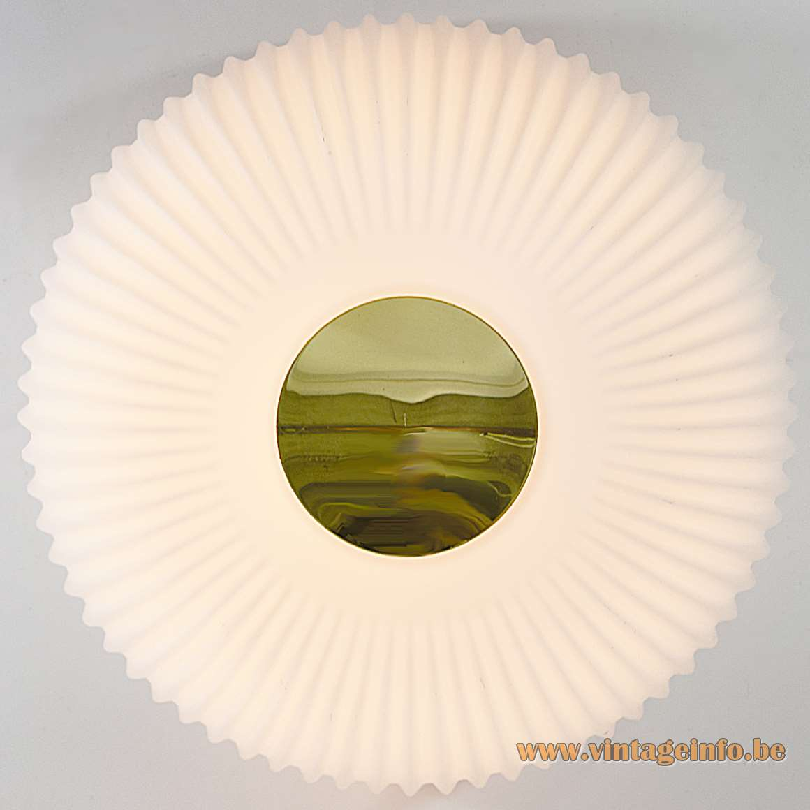 Glashütte Limburg Flush Mount 2773 round white opal crenate glass brass center piece Germany 1970s MCM