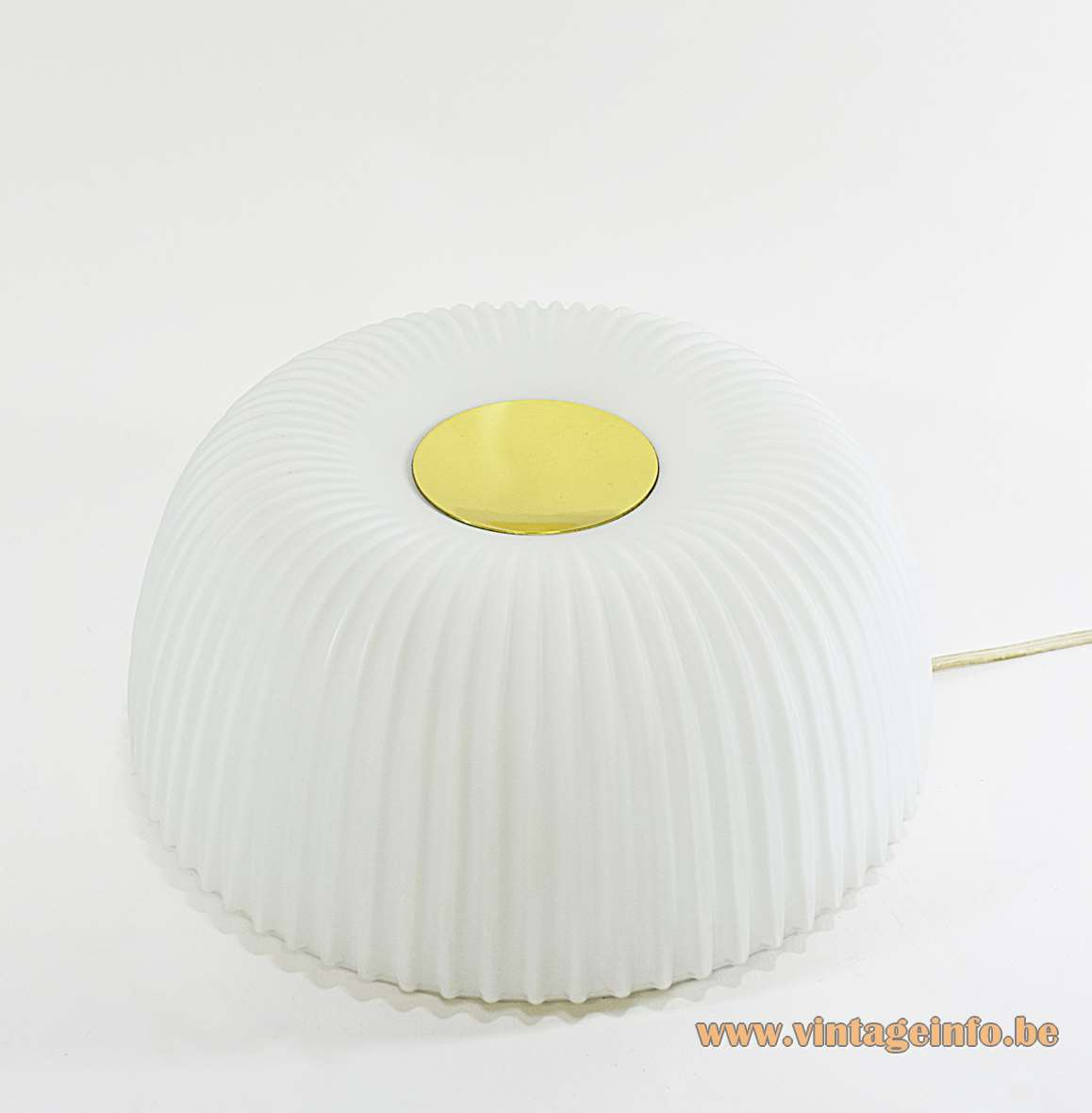 Glashütte Limburg flush mount 2773 round white opal crenate ribbed glass lampshade brass lid 1970s 1980s