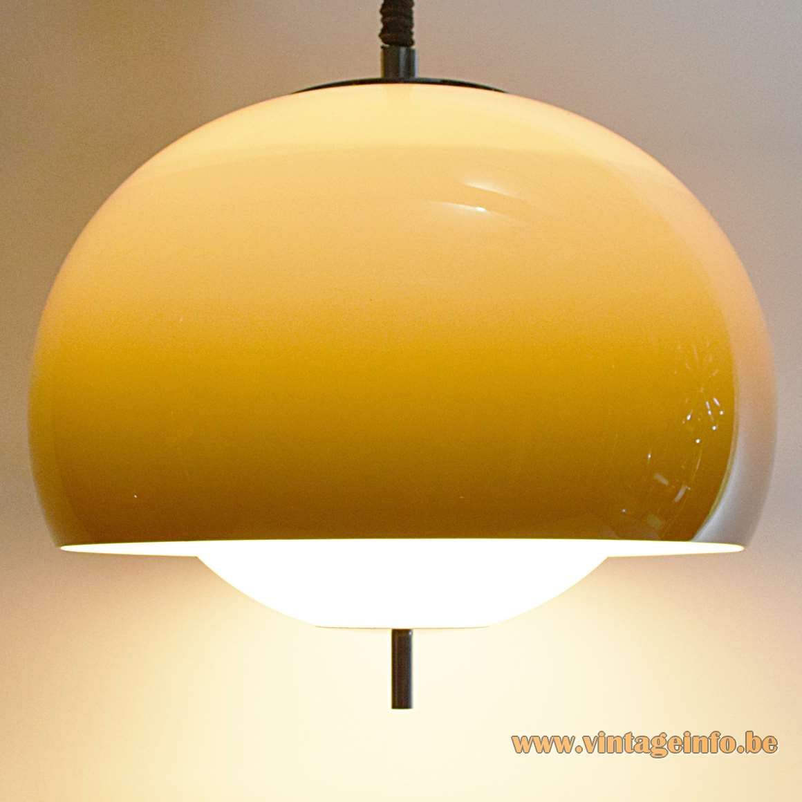 Harvey Guzzini Burgos Pendant Lamp rise & fall round acrylic perpex lampshade white diffuser 1970s chrome handle
