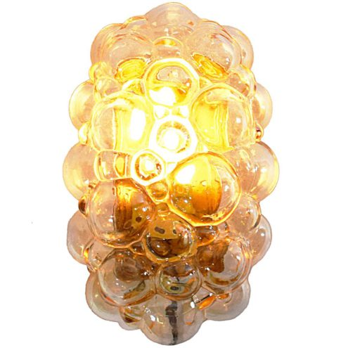 Helena Tynell bubble glass wall lamp in amber glass made by Glashütte Limburg in 1960s 1970s