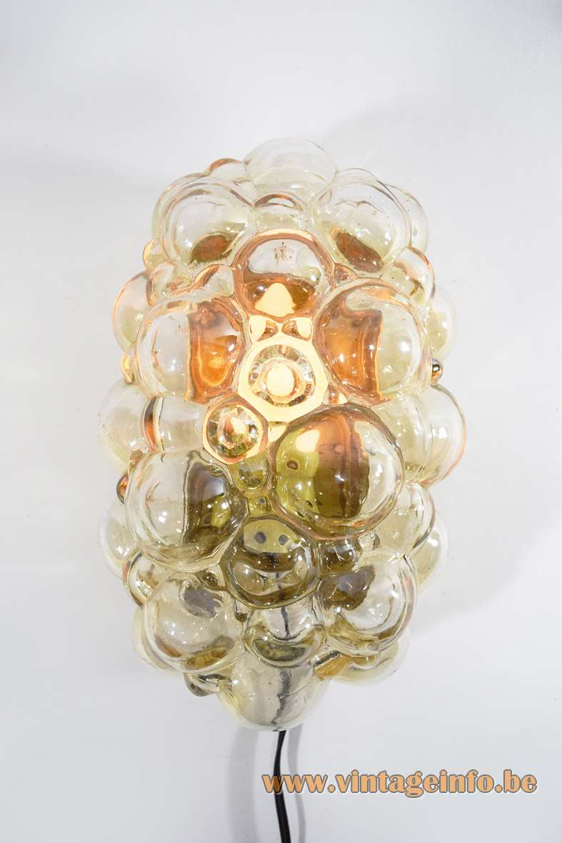 Helena Tynell amber bubble glass wall lamp flush mount Glashütte Limburg 1960s 1970s MCM