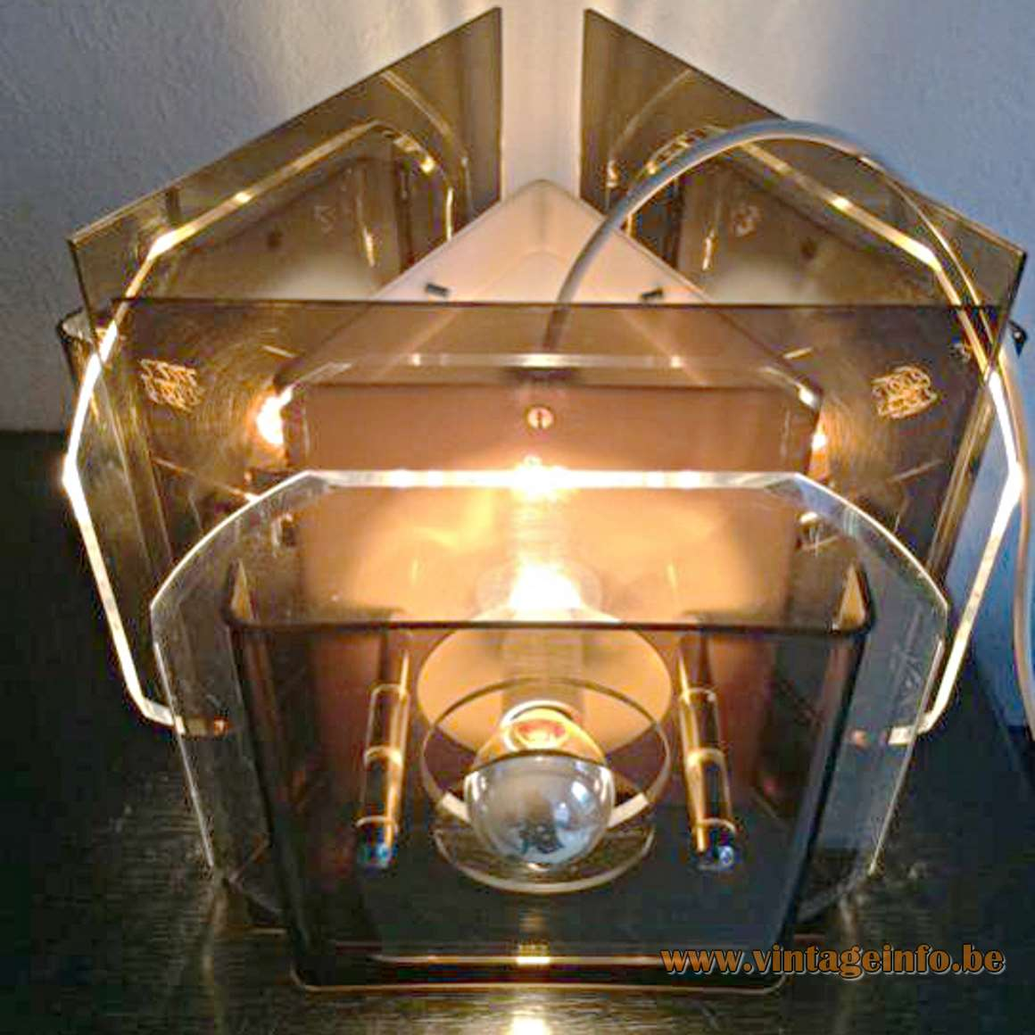 Herda Square Acrylic Chandelier brown smoked and clear acrylic 1960s 1970s MCM plastic Perspex