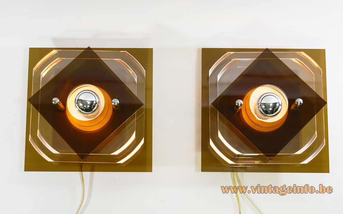 Herda Square Acrylic Wall Lamps brown smoked and clear acrylic 1960s 1970s MCM plastic Perspex