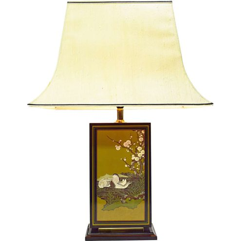 Big Hokkaido table lamp black rectangular wood base Japanse ducks pagoda lampshade Le Dauphin 1970s 1980s