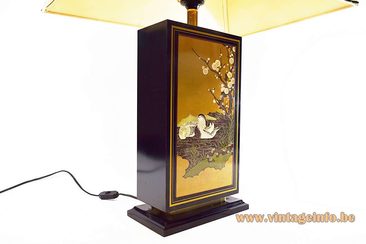 Hokkaido Table Lamp black wooden rectangular block gilded ducks Le Dauphin 1970s 1980s Hollywood Regency