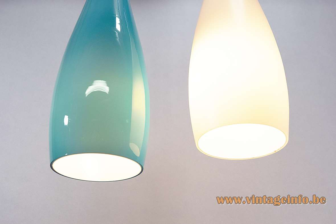 Jacob Eiler Bang Pendant Lamps Design: Jacob Bang 1963 Fogg & Morup Denmark white turquoise 1960s