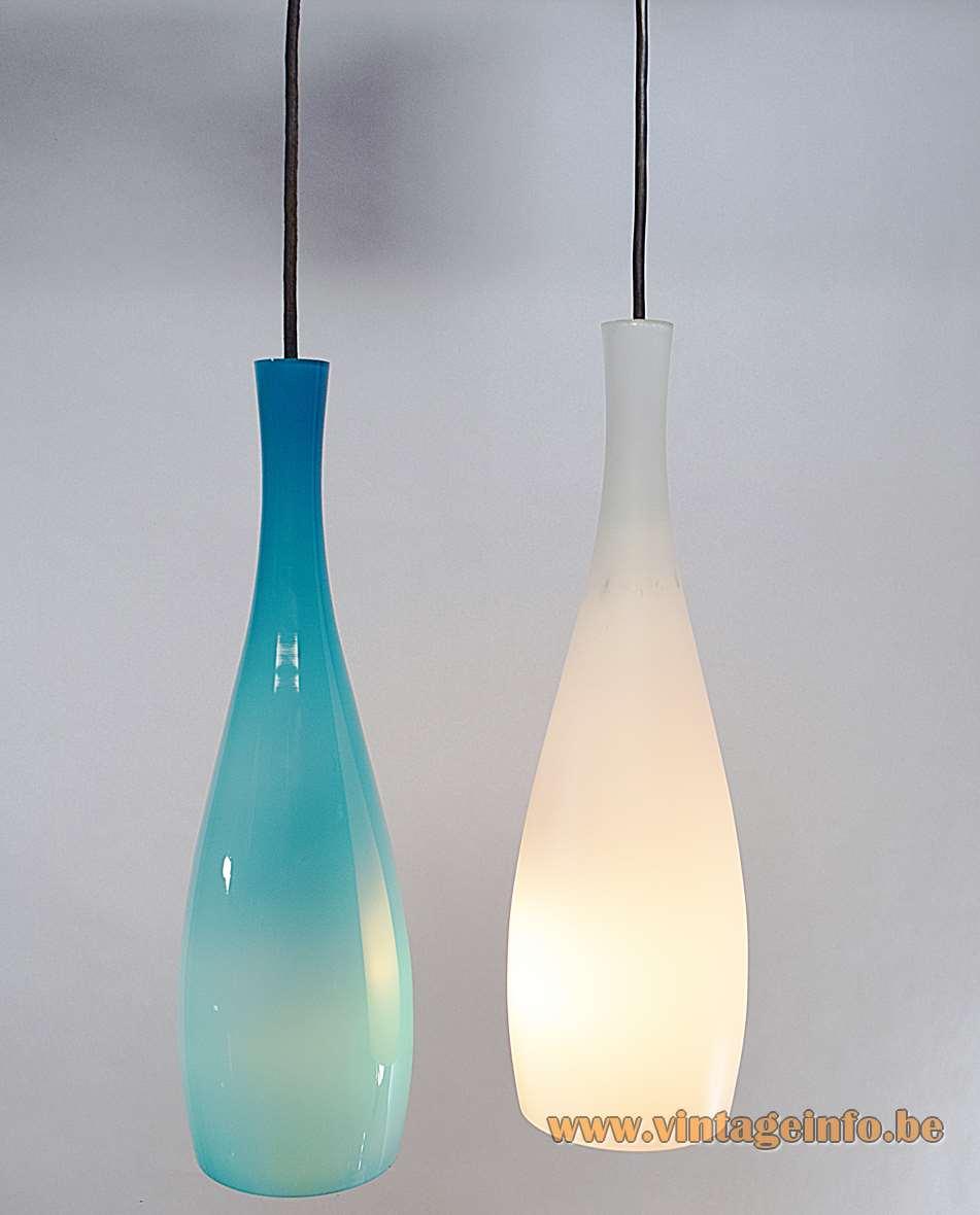 Jacob Eiler Bang pendant lamp long white turquoise glass Fog & Morup Denmark 1960s design vintage