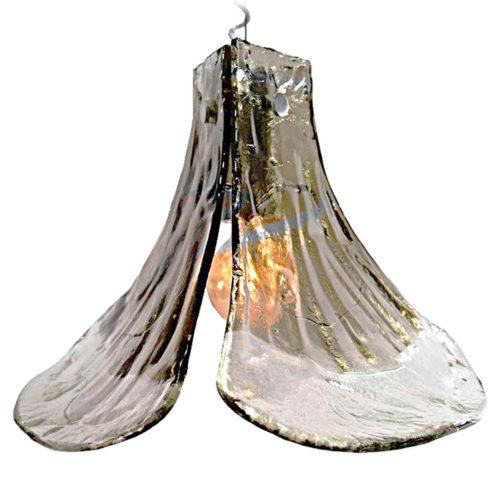 Kalmar Franken smoked glass pendant lamp design: Carlo Nason 3 Murano petals 1970s Mid-Century Modern MCM