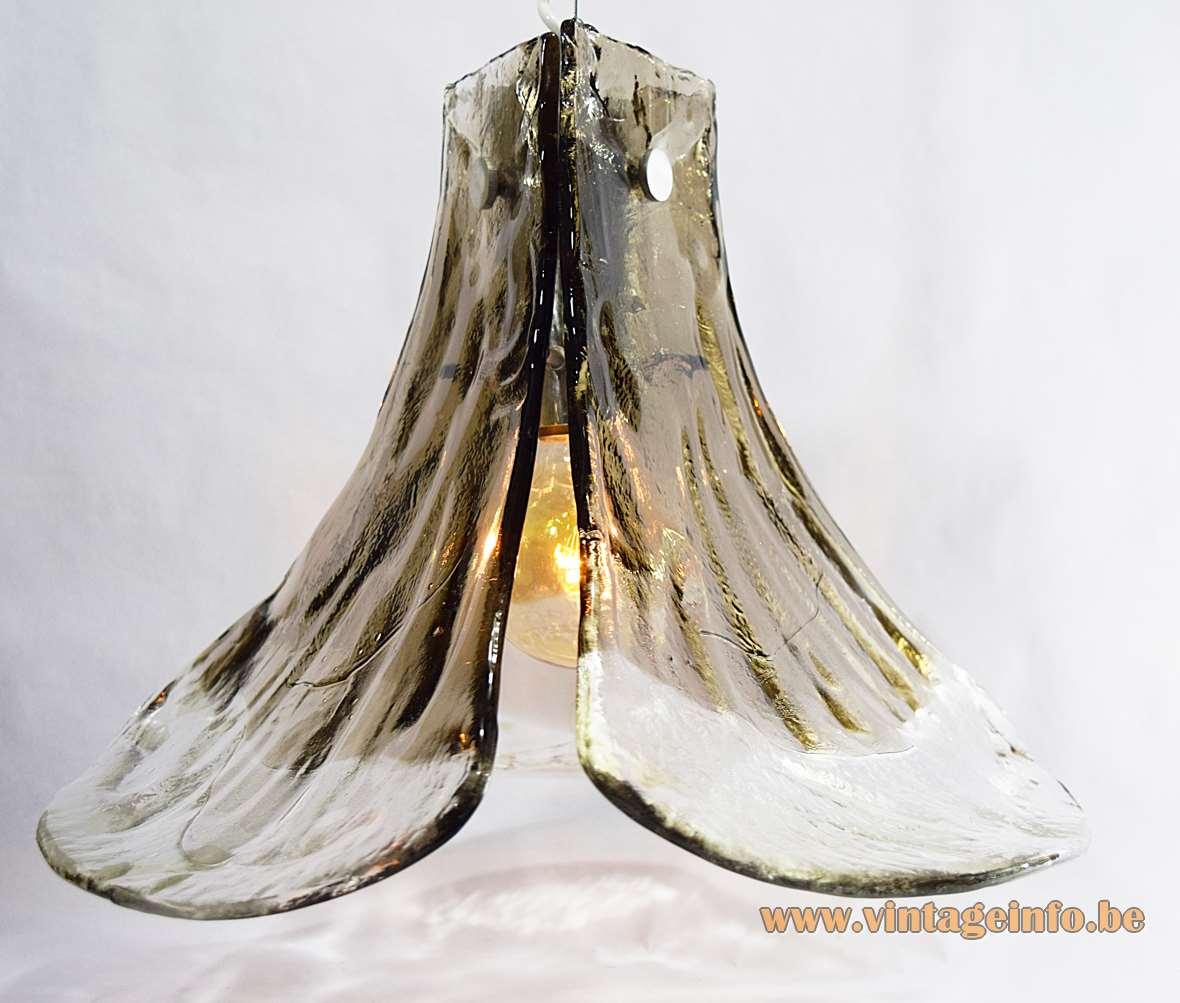 Kalmar smoked glass pendant lamp 3 big Murano leaves petals design: Carlo Nason 1960s 1970s vintage
