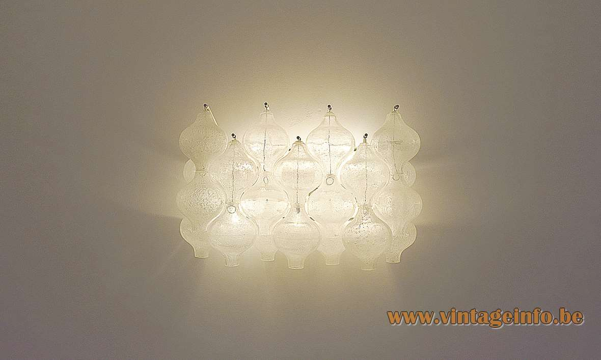 Kalmar Tulipan wall lamp design: Julius Kalmar 20 tulip/onion bubbleglass bulbs Austria 1960s 1970s 6 E14 sockets MCM