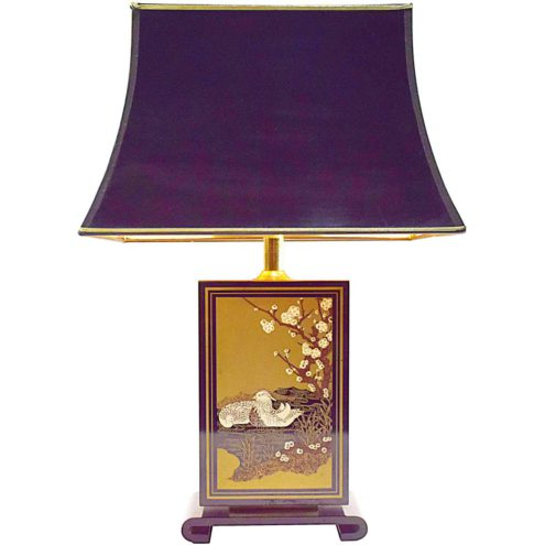 Le Dauphin table lamp Hokkaido black rectangular wood Japan ducks gold 1970s 1980s Hollywood Regency E27 socket