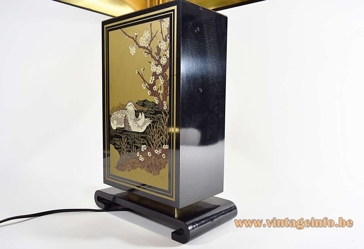 Hokkaido Table Lamp black wooden rectangular block gilded ducks Le Dauphin 1970s 1980s Hollywood Regency