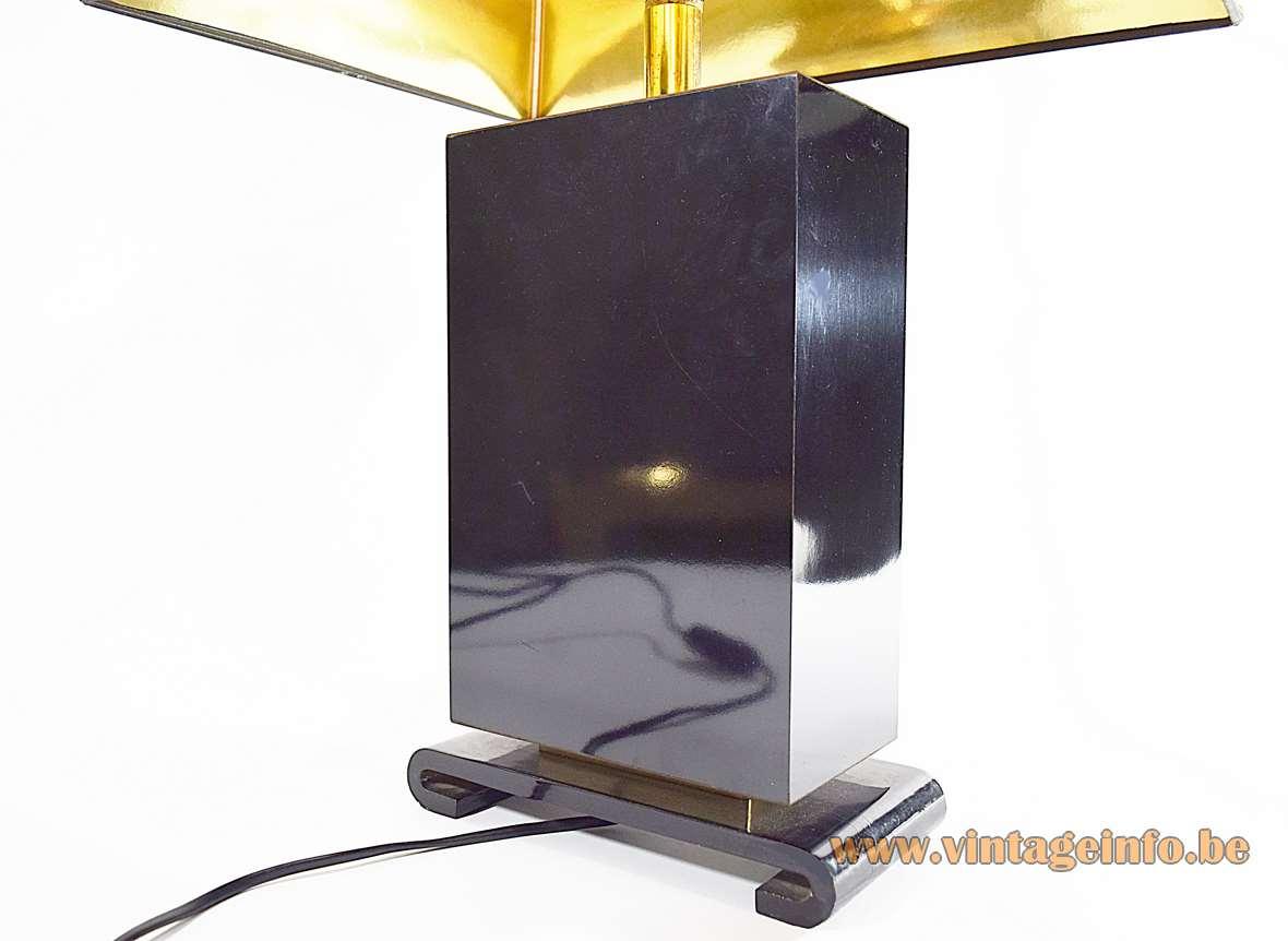 Small Hokkaido table lamp black beam base Japanse ducks pagoda lampshade Le Dauphin 1970s 1980s France