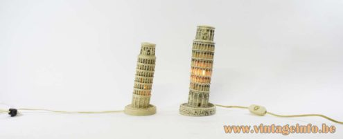 Leaning Tower of Pisa Lamp souvenir Italy polystone resin 1950s 1960s 1970s keepsake memento token
