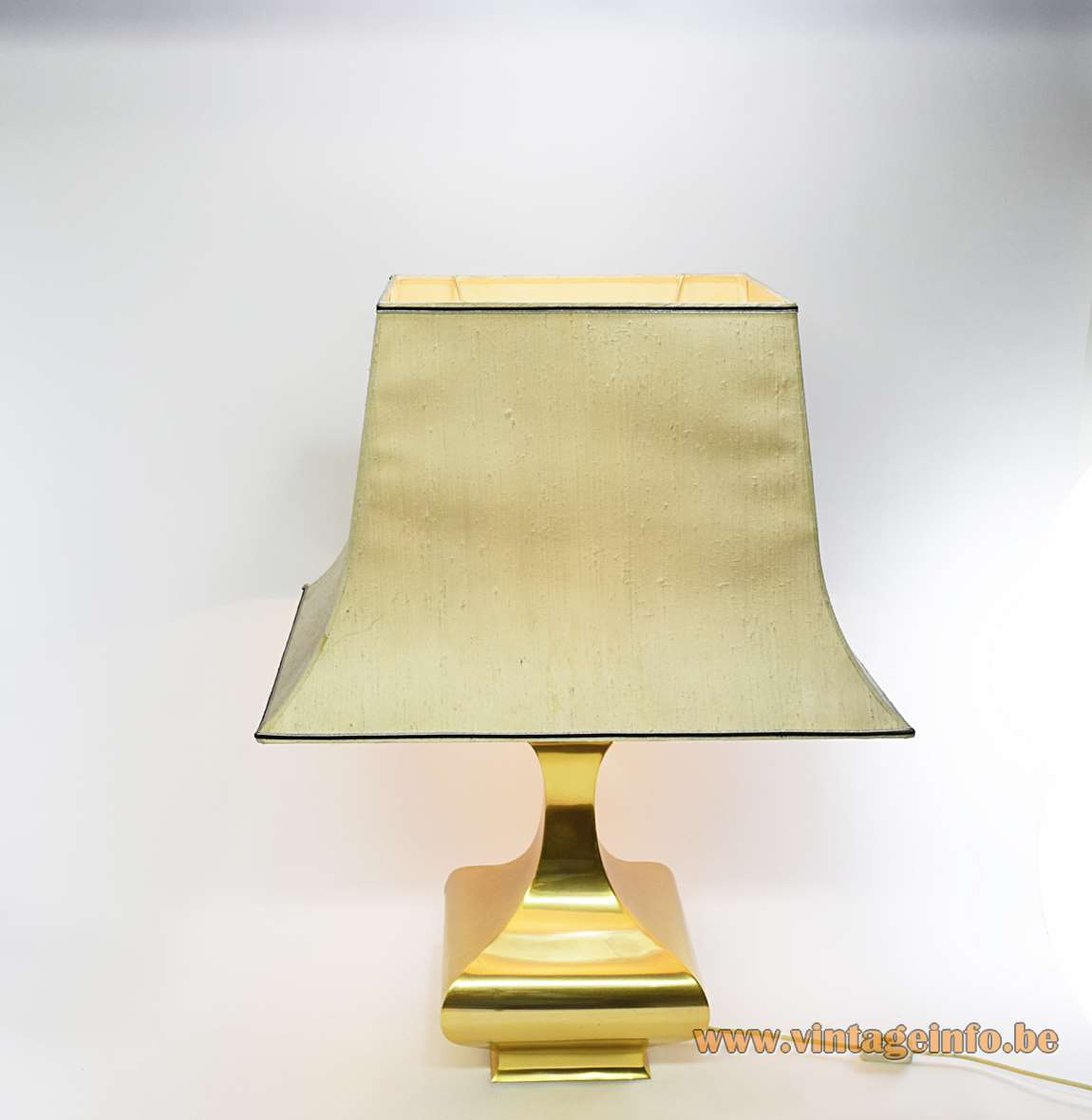 Maria Pergay Balustre Table Lamp completely made of brass pagoda fabric lampshade square base 1970s mcm